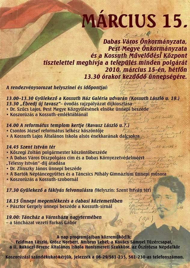 Március 15-ei ünnepség programjai